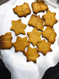 Gur atta cookies in various shapes for fussy eaters